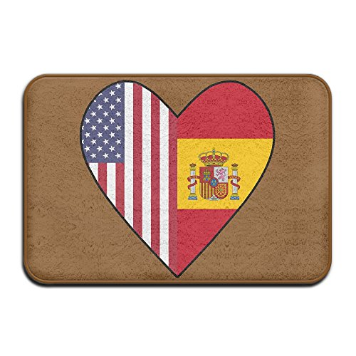Youbah-01 Indoor/Outdoor Carpets Floor Door Mat With Half Spain Flag Half USA Flag Love Heart Pattern For Front Porch by Youbah-01