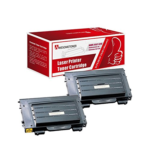 Awesometoner 2 Pack Compatible CLP-510D7K Toner Cartridge For Samsung CLP-510 CLP-510N CLP-510NG High Yield Black 7,000 Pages (510n Printers High Yield)