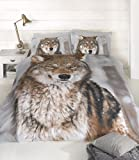 PCJ SUPPLIES CLASSIC TWIN WINTER WOLF BROWN COTTON BLEND COMFORTER COVER SET #FLOWRH
