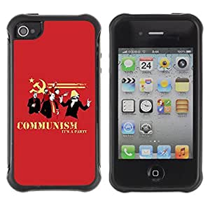 Hybrid Anti-Shock Defend Case for Apple iPhone 4 4S / Communism Is A Party