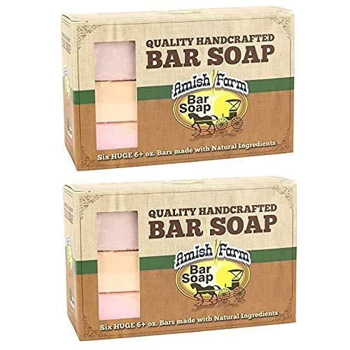 Natural Bar Soap Amish Farms Hand Cut, Hand Crafted, Six - 6 Ounce Bars Made in USA (Pack of 2)