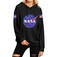 Phoenix_us Women Fall Winter Warm NASA Logo Hoodie Sweatshirt with Pocket Space Pullover