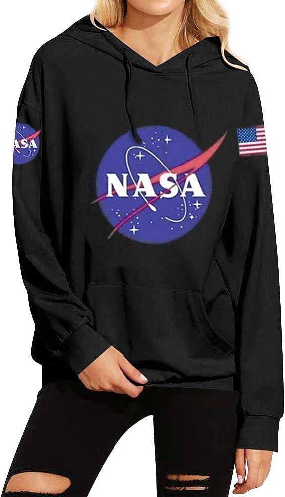 Dresswel Mujer Sudaderas con Capucha Impresión de NASA Suelta Tallas Grandes Jersey Pull-Over Camiseta Blusa Tops de Manga Larga: Amazon.es: Ropa y accesorios