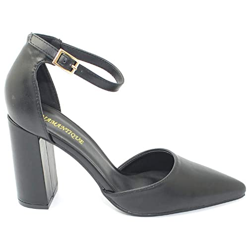 check-out 60888 8ba1b Malu Shoes Decollete Donna Nero in Ecopelle a Punta con ...