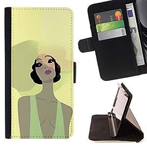 Momo Phone Case / Flip Funda de Cuero Case Cover - Summer Girl Playa Retrato Sombrero Grande Amarillo - HTC Desire 820