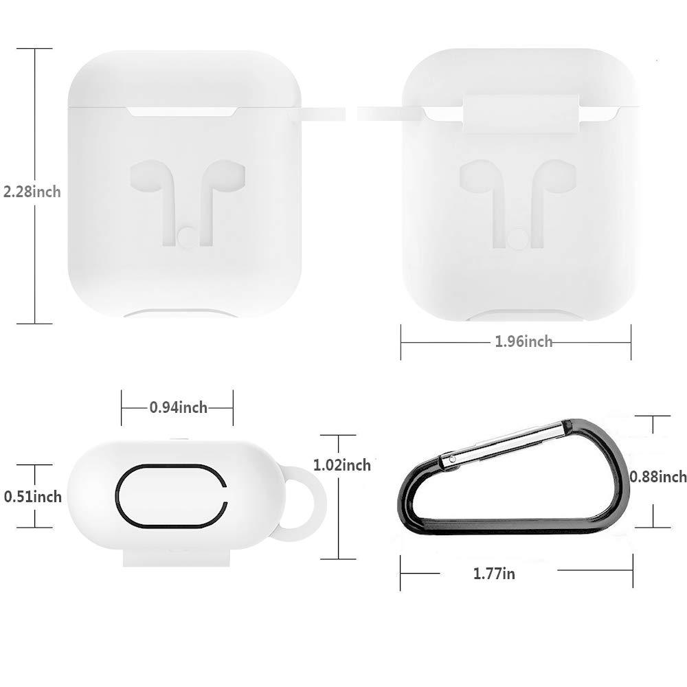 Blanc Hianjoo Coque /Étui Protecteur Compatible pour AirPods 1 /& 2 Silicone Coque de Protection 7 en 1 avec Mousqueton Casque Accessoires Protection Case pour Airpods