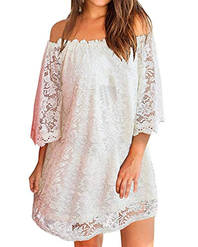 (ZANZEA Women's Sexy Off Shoulder Lace Boho Ruffle Sleeve Blouse Mini Dress White XL)