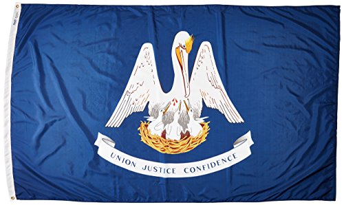 Annin Flagmakers Model 142180 Louisiana State Flag Nylon SolarGuard NYL-Glo, 5x8 ft, 100% Made in USA to Official Design Specifications