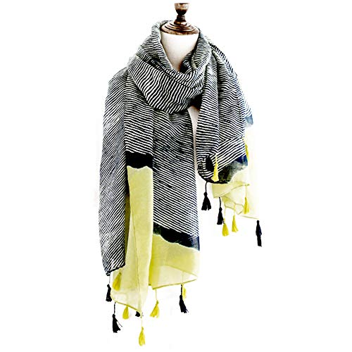 Navy blue striped fringed classic cotton and linen scarf sunscreen shawl female Gift Winter New Year's Gift