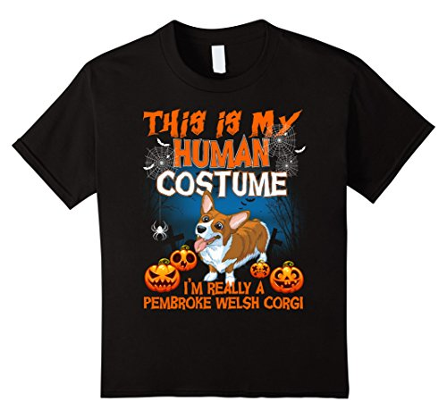 Welsh Childrens Costumes (Kids Pembroke Welsh Corgi Shirt This Is My Human Costume Shirt 12 Black)