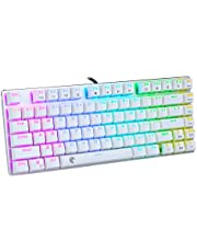 E-Yooso Mechanical Gaming Keyboard, RGB Backlit, Water Resistant, Compact 81 Keys Keyboards with Replaceable Blue Switch