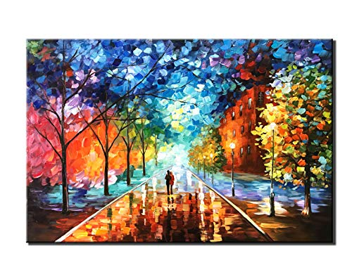 Diathou 24x36 inches 100% Hand Painted Oil Painting Lovers Stroll The Colorful Streets Oil Painting canvases Abstract Works of Art Wood Carving Interior Frame Wall Hanging Decorative Oil ()