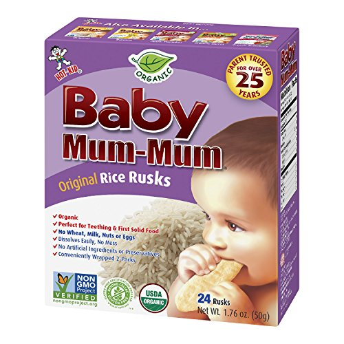 Hot-Kid Baby Mum-Mum Rice Rusks, Organic Original, 24 pieces, (Pack of 6)