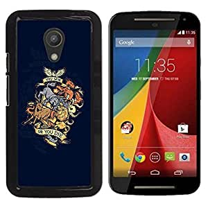 LECELL -- Funda protectora / Cubierta / Piel For Motorola MOTO G 2ND GEN II -- You Win Or You Die Animal Dragon Crest --