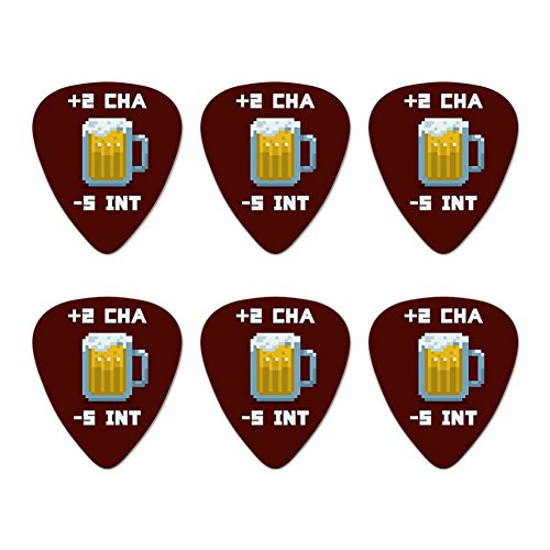 8-Bit Pixel Retro Beer Charisma Buff Gamer Game Novelty Guitar Picks Medium Gauge - Set of - Gamer 8bit