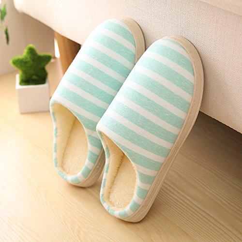 Fankou amore tutto il pacchetto con cotone pantofole home morbido interno piano terra bassa scarpe, calzatura ,39-40,BF001 verde primavera
