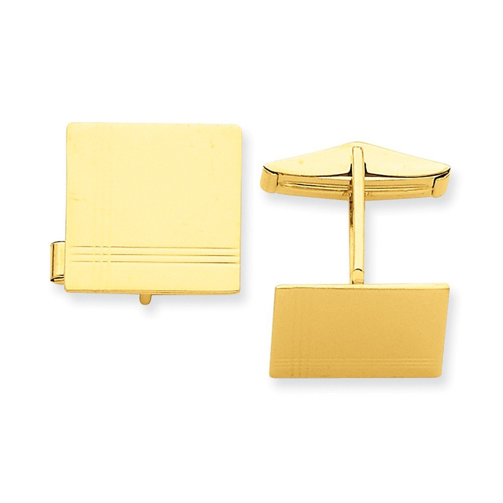 14k Yellow Gold Square Cuff Links with Border Detail
