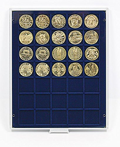 LINDNER Original Coin Box- with Square Compartments US Half Dollars (Franklin, Kennedy, Liberty and Coins Up To 36 mm) with Dark Blue Velour
