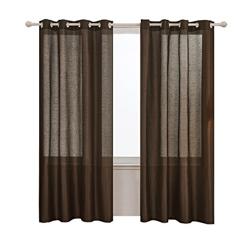 (Subrtex 2 Faux Silk Semi-Sheer Window Elegance Curtains/Drape/Panels/Treatment and Solid Grommets for Bedroom (52'' x 84'',)
