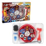 Burst Gyro Spinning Top Toys Beyblade & Launcher Kids Game Toys Children Gift (Red plate)
