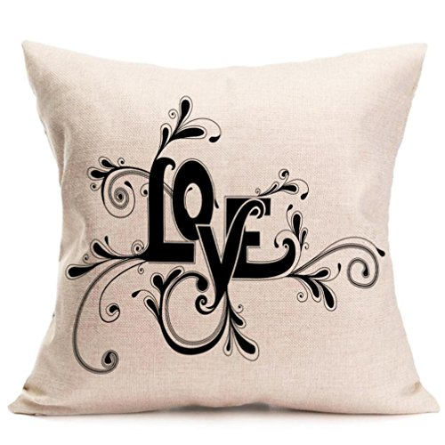 2017 Valentine's Day Pillow Case,Elevin(TM)New Lovers Painting Square Linen Cushion Cover Throw Waist Pillow Case Sofa Bedroom Home Decor Good Valentine's Gift (L)