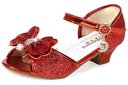 (Heeled Sandals for Girls Size 10M Toddler Kids Wedding Princess Dress Knot Performance Sequin Shoes Sandals Rhinestone Little Girl (Red 28))