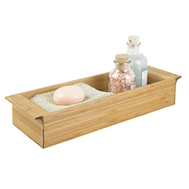 mDesign Toilet Tank Storage Tray for Tissues, Candles, Soap - 3 , Natural Bamboo
