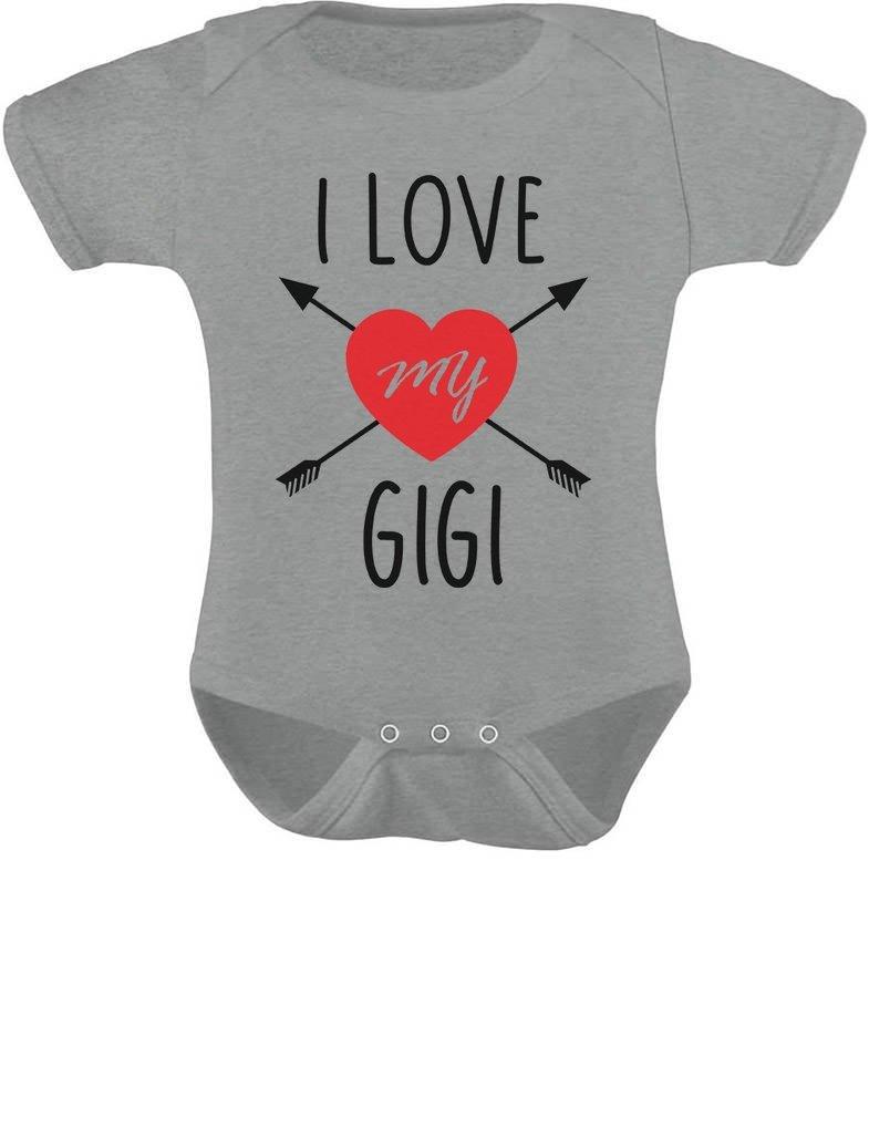 TeeStars - I Love My Gigi Valentine's Day Gift For Baby & Grandma Baby Bodysuit Newborn Gray