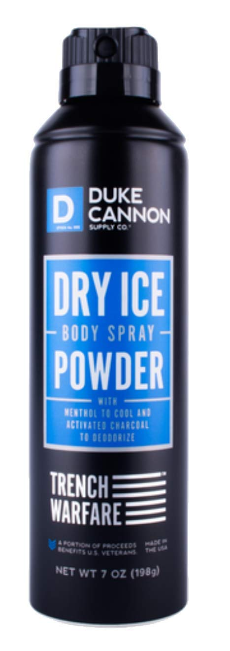 Duke Cannon Men's Trench Warfare Dry Ice Body Spray Powder, 7 ounce/No CFCs, Paraben-free