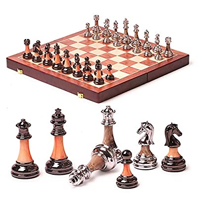 Wooden Chess Set Game, Portable Game of International Chess, Folding Chessboard Imitation Jade ABS Chess Pieces