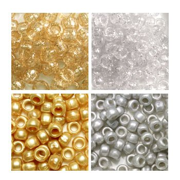 Silver & Gold (Not Metallic) 6 x 9mm Plastic Craft Pony Beads, 4 Bags Variety Pack, 4 Colors (about 2000 beads) Beads Kit Gift Set