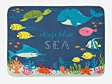 "kids bathroom ideas Ambesonne Cartoon Bath Mat, Underwater Graphic with Algaes Coral Reefs Turtles Fishes The Life Aquatic, Plush Bathroom Decor Mat with Non Slip Backing, 29.5"" X 17.5"", Navy Green"
