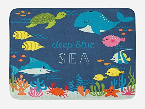 "Ambesonne Cartoon Bath Mat, Underwater Graphic with Algaes Coral Reefs Turtles Fishes The Life Aquatic, Plush Bathroom Decor Mat with Non Slip Backing, 29.5"" X 17.5"", Navy Green"
