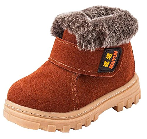 SENFI Boy/'s Girl/'s Waterproof Fur Lining Flat Short Ankle Winter Snow Boots Toddler//Little Kid