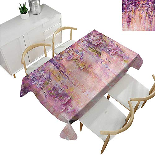 familytaste Flower,Fabric Tablecloth,Watercolor Painting Effect Wisteria Tree Blossoms Soft Scenic Spring Display,Oblong Wrinkle Resistant Tablecloth 70