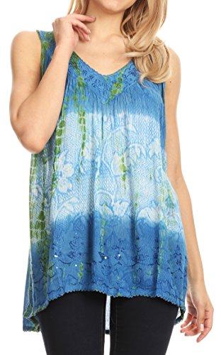 Floral Crme Tie Chemisier Sakkas Dye and Manches Multicolore Bleu Paillettes Sans f0fwxqPg