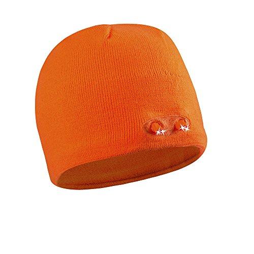 POWERCAP LED Beanie Cap 35/55 Ultra-Bright Hands Free LED Lighted Battery Powered Headlamp Hat - Knit Orange (KB-6908)