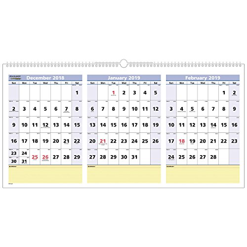 (AT-A-GLANCE 2019 Wall Calendar, 3-Month Display, QuickNotes, 23-1/2