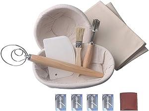 XUEZHEN Bread Proofing Basket 7PCS Bread Fermentation Basket, Dough Fermentation Rattan Basket, Country Bread Baguette Banneton, Knife Brush, Flax