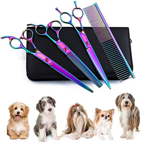 Tijeras para Mascotas, Sendowtek 6 Kit de Tijeras para Mascotas Profesionales de Acero Inoxidable para Gatos y Perros, Kit de Peluquería Canina para Perros o Gatos, Apto para Todo Cuerpo 2