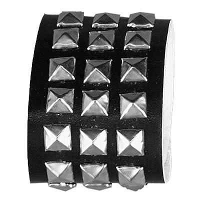 Forum Novelties Gothic Studded Wristband - 1 Row Studs Black/Silver: Clothing