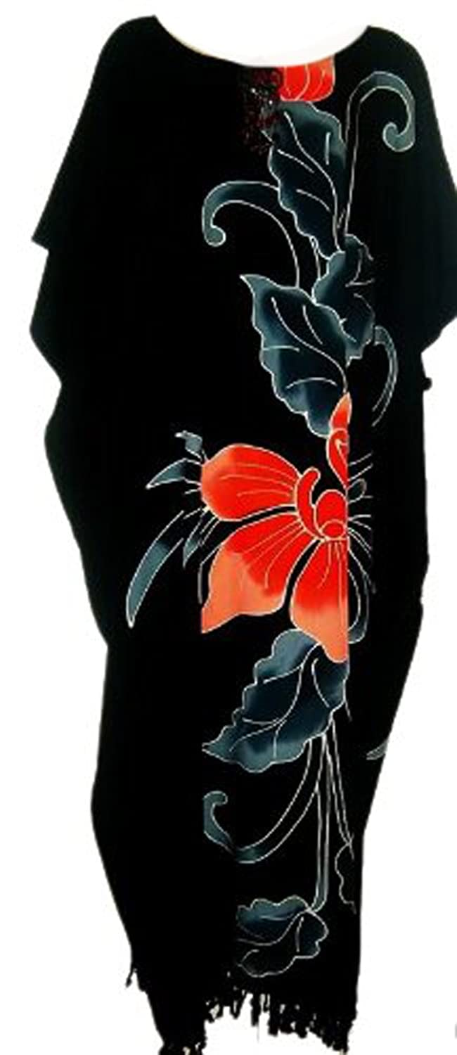 Cool Kaftans New Amazing Black ORCHID Flower Kaftan Dress Floral Butter Soft Fabric