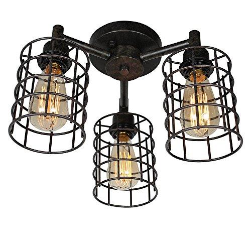 Baiwaiz Industrial Ceiling Lighting, Metal Wire Cage Semi Flush Mount Ceiling Light 3 Lights Edison E26 Black Rust Finish 076 ()