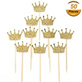Gold Glitter Crown Cupcake Toppers, First Birthday, Birthday Party, Wedding, Baby Shower, Bridal Shower Cupcake Toppers Valentine's Day Cake Decor 50pcs