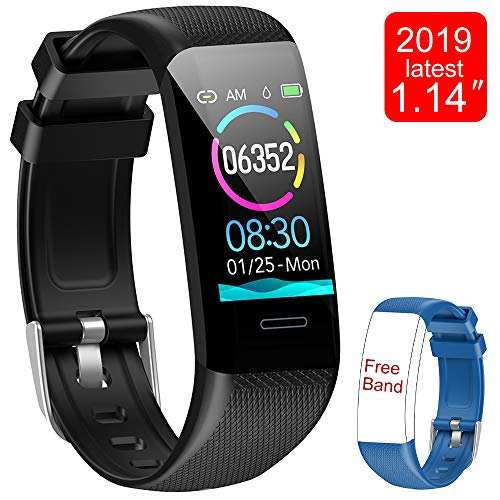 Fitness Tracker Watch, Activity Tracker with Heart Rate Monitor, 1.14 Inch Color Screen Smart Watch with Blood Pressure Monitor, Pedometer Watch Sleep Monitor Calories Counter, IP67 Waterproof Fitness Watch with Gift Band Compatible with Android & IOS (Black)