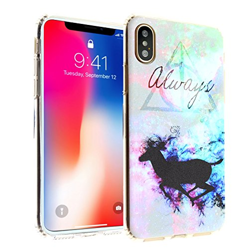 iPhone X Case, IMAGITOUCH Harry Potter Deer Deathly Hallows Always Clear Case Anti-Scratch Shock Proof Soft Touch Slim Fit Flexible TPU Case Bumper Cover for iPhone X Always Deer TPU