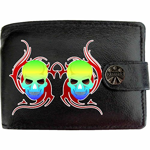 Multi Coloured Skull Red Fire Bunte Schädel Rote Flammen Klassek Herren Geldbörse Portemonnaie Brieftasche Voodoo aus echtem Leder schwarz Geschenk Präsent mit Metall Box