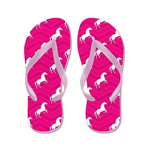 Cafepress Hot Pink, Cavallo Bianco, Equitazione, Chevron Flip Fl - Infradito, Divertenti Sandali Infradito, Sandali Da Spiaggia Rosa