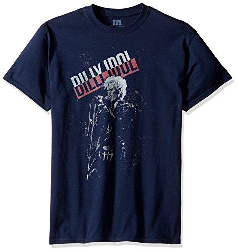 Billy Idol Men's Stage T-Shirt, Navy Medium