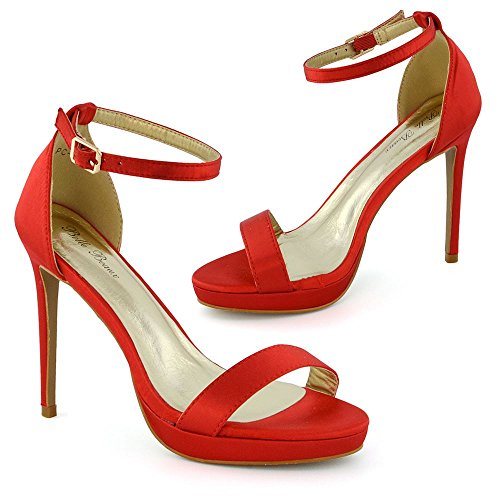 Alla Basso Toe Tacco Donna Stiletto Peep Sandalo Glam Essex Caviglia Satinato Rosso Cinturino zn1OSS